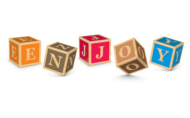 Word ENJOY written with alphabet blocks