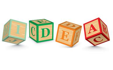 Word IDEA written with alphabet blocks
