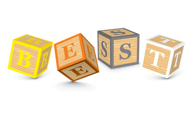 Word BEST written with alphabet blocks