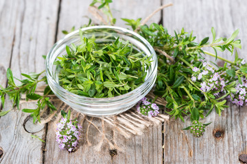 Fresh Winter Savory in a bowl