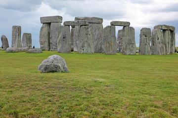 Big old stone at Stonehenge historic site. Stonehenge is a UNESC