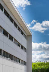 new prefabricated office building with white facade
