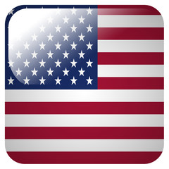 Glossy icon with flag of United States of America
