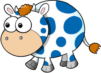 Happy Cute Cow Vector Illustration Art
