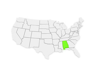 Three-dimensional map of Alabama. USA.