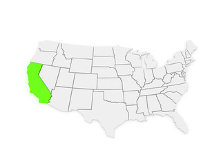 Three-dimensional map of California. USA.