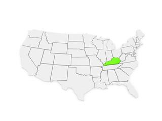 Three-dimensional map of Kentucky. USA.