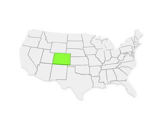 Three-dimensional map of Colorado. USA.