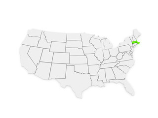 Three-dimensional map of Massachusetts. USA.