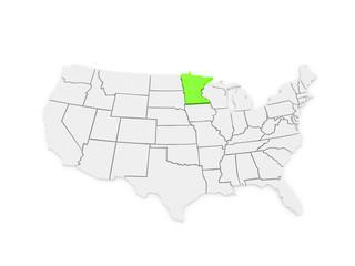 Three-dimensional map of Minnesota. USA.