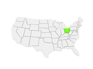 Three-dimensional map of Ohio. USA.