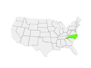 Three-dimensional map of North Carolina. USA.