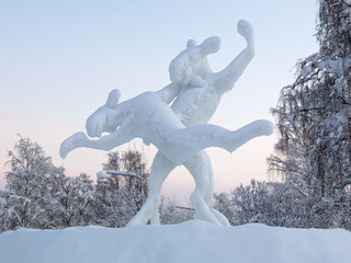 Dancing elks - Ice sculpture in Jokkmokk, Sweden