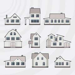 Vector townhouses icon set.