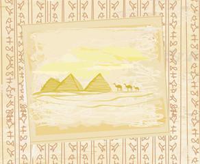 camel caravan in wild africa - abstract grunge texture