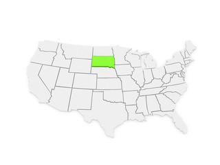 Three-dimensional map of South Dakota. USA.