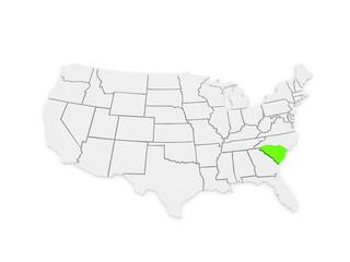 Three-dimensional map of South Carolina. USA.