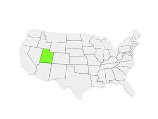 Three-dimensional map of Utah. USA.
