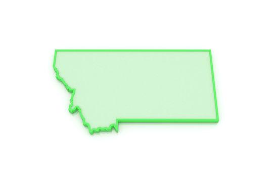 Three-dimensional map of Montana. USA.