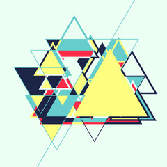 Abstract geometric retro colourful vector background