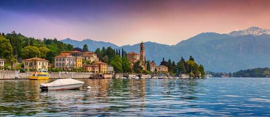View of the city Mezzegra, colorful evening on the Como lake
