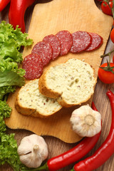 Salami and vegetables