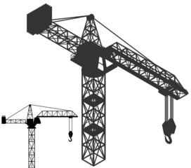 crane vehicle structure silhouette pack vector