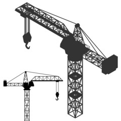 crane vehicle structure silhouette collection vector