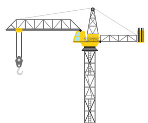 isolated builder crane side view design vector