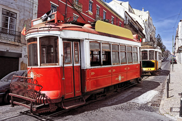 typical old trams in Lisbon, Portugal