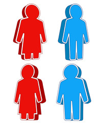 red woman and blue man icon collection concept vector