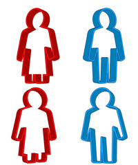 red woman and blue man 3d icon concept vector