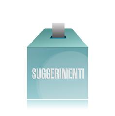 suggestion box in italian. illustration
