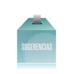 suggestion box in spanish. illustration