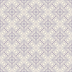 purple pattern with flowers and swirls