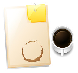 A topview of a table with a coffee stain