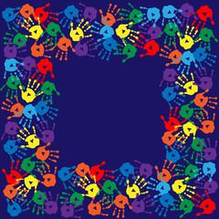 Frame with handprints on  blue background