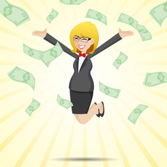 cartoon happy businesswoman jumping with money cash