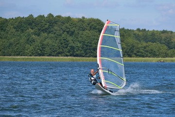 Windsurfing on the lake Nieslysz, Poland