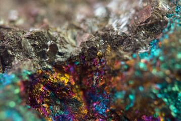 Crystal,nugget, gold, bronze, copper, iron. Macro. Extreme close