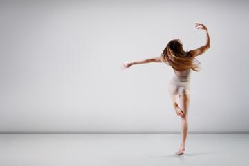 dancer - young beautiful teen girl dancing at studio, series