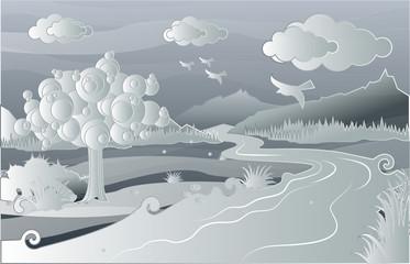 gray white landscape