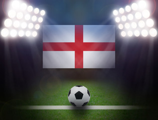 Wall Mural - Football with United Kingdom Flag in stadium.