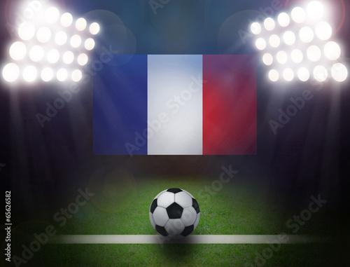 Fotobehang Soccer Ball with France Flag in stadium.