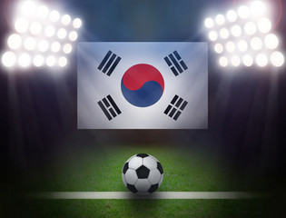 Wall Mural - Soccer Ball with South Korea Flag in stadium.