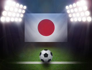 Wall Mural - Soccer Ball with Japan Flag in stadium.