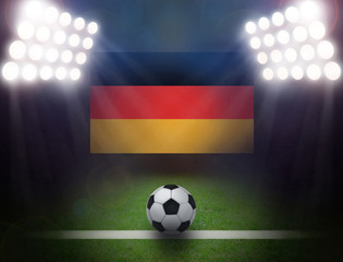 Wall Mural - Soccer Ball with German Flag in stadium.
