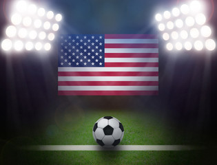 Soccer Ball with USA flag in stadium.