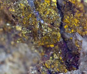 Nugget, gold, bronze, copper.  Macro. Extreme closeup