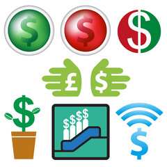 Sign and icon currency business design